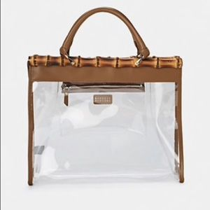 Barneys New York Clear Bag with Bamboo and Leather